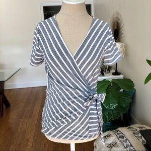 Socialite Gray & White Wrap T Shirt Top Medium